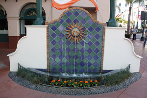 Mexican decorative Tile In A Fountain